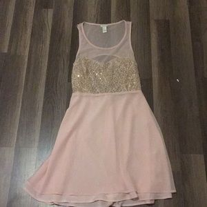 Blush pink gold sequin dress with cutout back